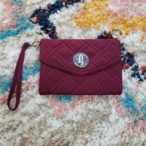 Vera Bradley Quilted Red Turnlock Wrislet Wallet